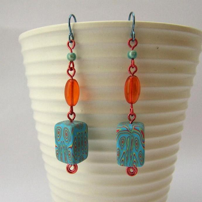 Turquoise and orange beaded earrings, handmade beads, hypoallergenic earrings, niobium earwires
