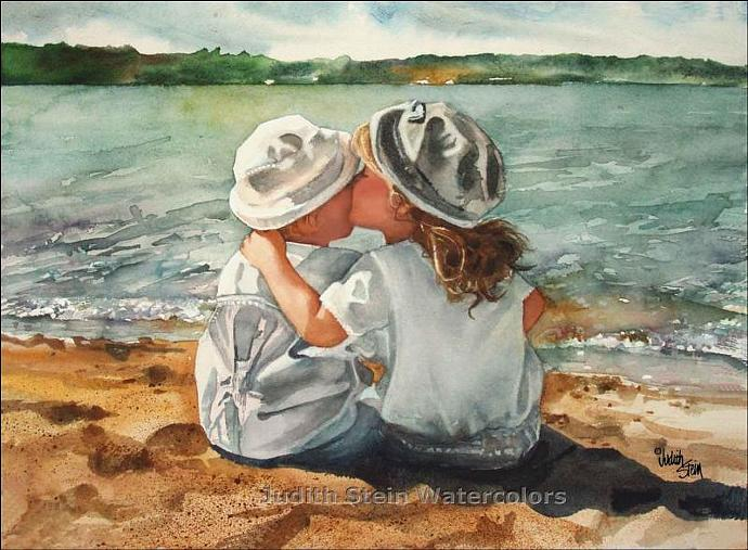 BEACH KISSES Children at Play 15x11 Giclee Watercolor Art Print