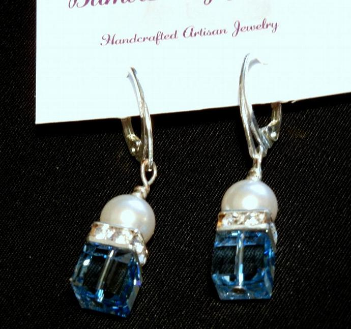 Swarovski Crystal Earrings 8mm Aqua Blue Crystal Cubes, Pearls & Squaredelles.