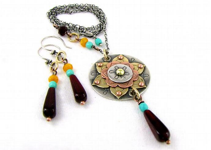 Mandala Pendant Necklace East Indian Cultural Necklace And Earring Set Tribal