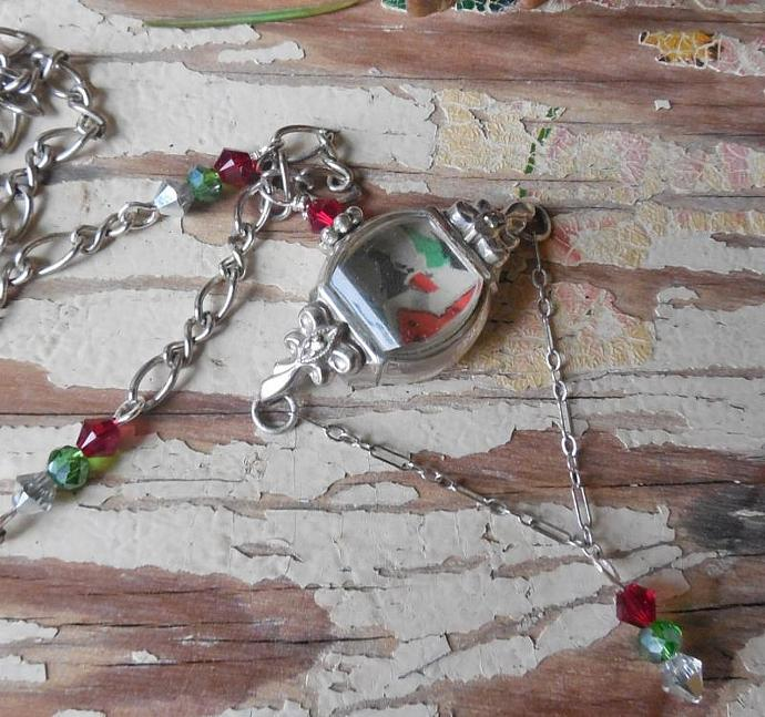 Winter Scene Pendant Necklace, Vintage Watchcase Holiday Christmas Necklace,