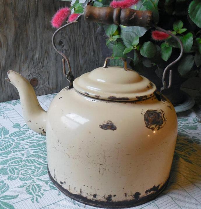 Shabby Chic Vintage Enamel Tea Kettle, Rustic Farmhouse Decor, Country Kitchen