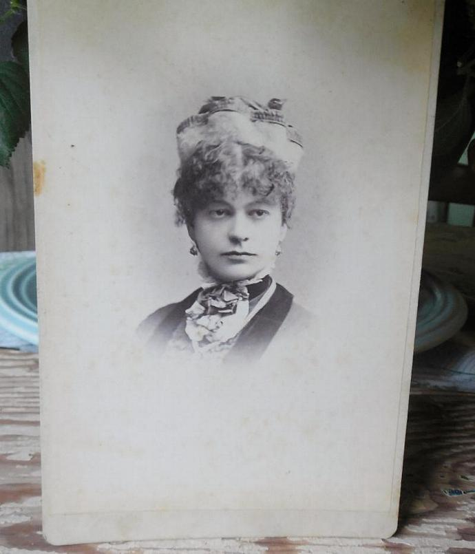 Cabinet Card of Victorian Woman, Late 1800's, Great for Display, Mixed Media,