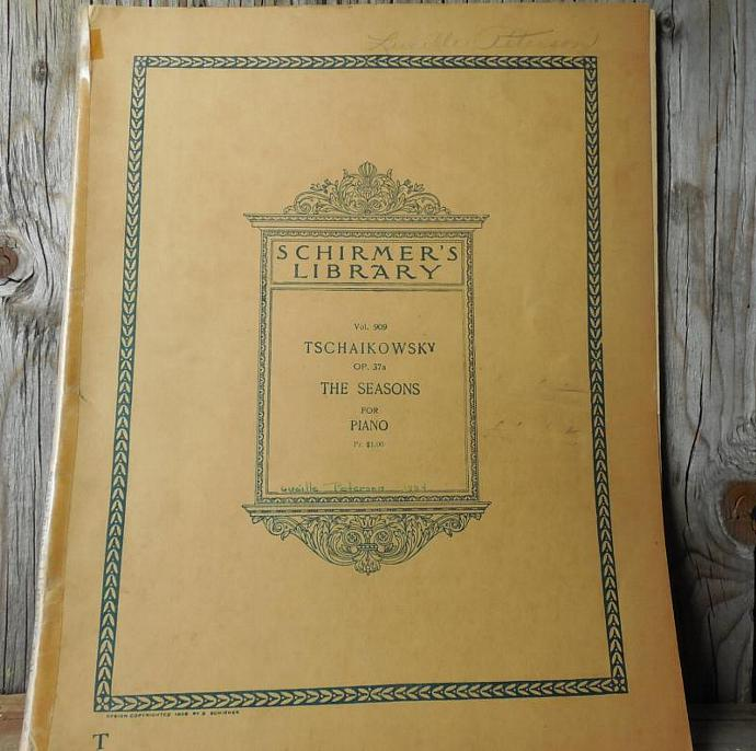 1909 Vintage Sheet Music Book, Tschaikowsky, 57 Pages, Scrapbooking, Crafts,