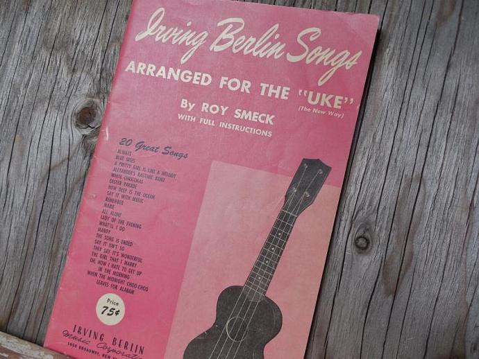 Sheet Music Book for the Ukulele, Irving Berlin songs, Scrapbooking, Crafts