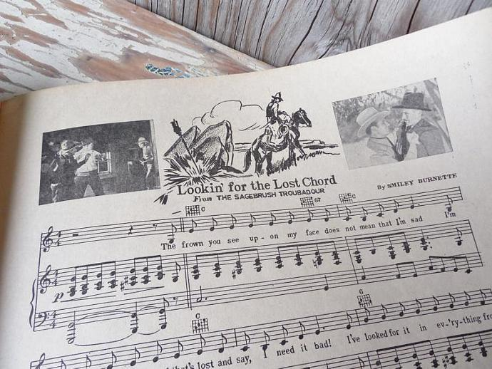 Vintage Sheet Music With Illustrations and Photos, 88 Famous Western Songs, 95