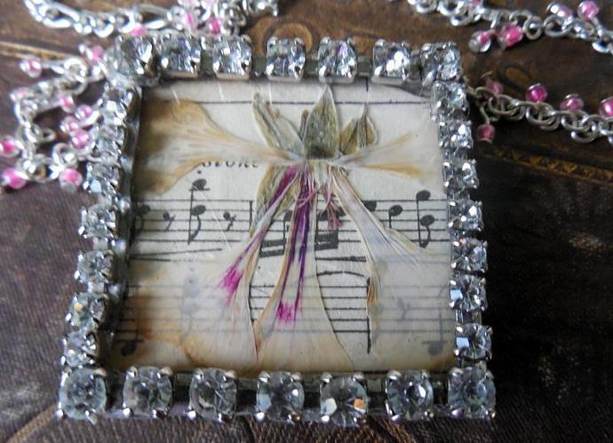 Rhinestone Botanical Pendant Necklace, Vintage Music, Real Pressed Flower