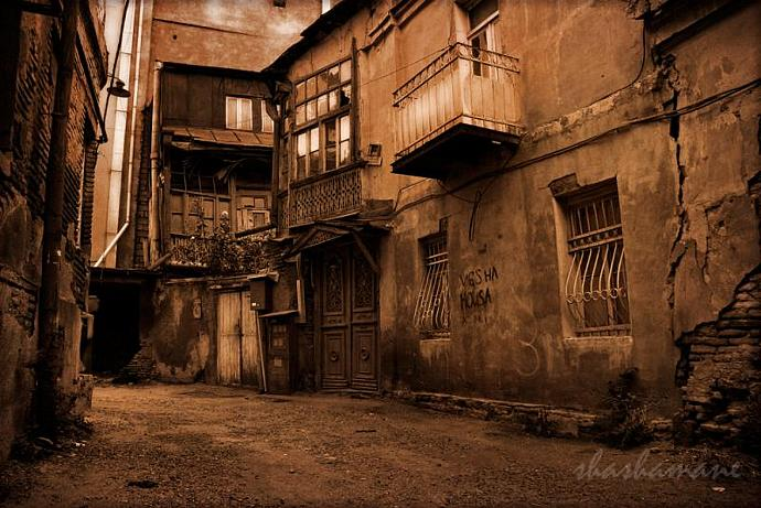 "Ramshackle ... 5 x 7"" (approx) fine art photography print of old Tbilisi street"