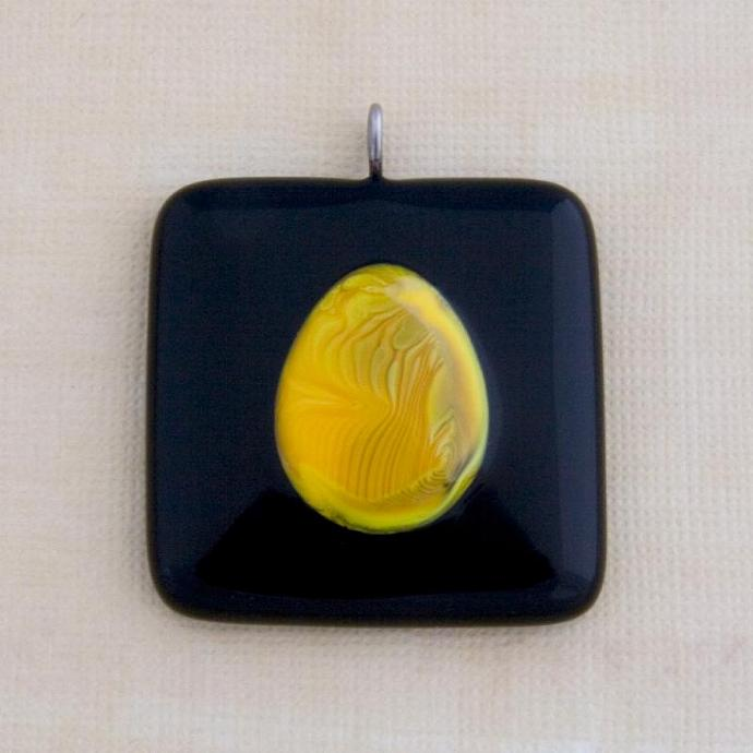 Abstract Fused Glass Pendant