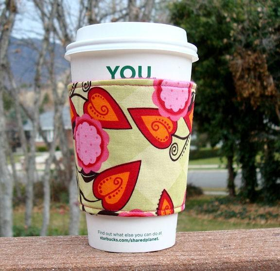 Coffee cozy / Cup sleeve -- Ivy Lime and Fuchsia -- Andalucia by Patty Young