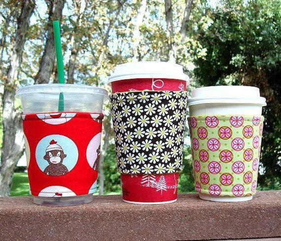 Coffee cozy / cup sleeve -- Modern blooms
