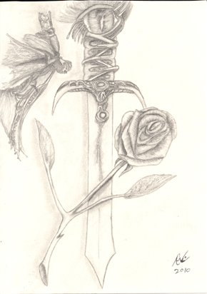 Eye of the Rose, original, small drawing