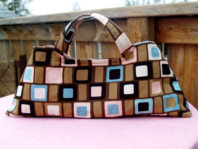 Retro Style Lined Handcrafted Brown and Pink Handb