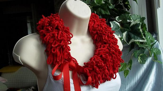 Neckwarmer/Neckpiece/Cowl/ Loopy Loops in Christmas Red With Red Ribbon