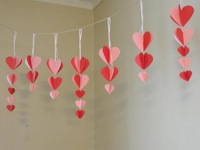 Wall Decoration With Paper Hearts : Paper heart garland valentines day anyoccasionbanners