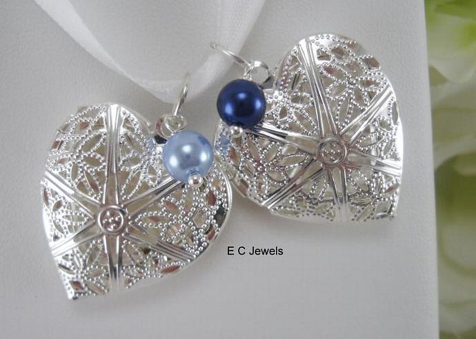 Something Blue Single Pearl Filigree Heart Locket Bouquet Charm