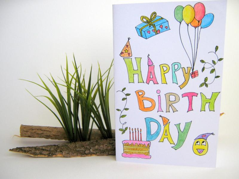happy birthday handmade gift card for kids,  exiarts, Birthday card