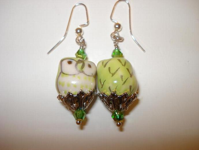 Swarovski Crystal and Porcelain Owl Earrings - Green