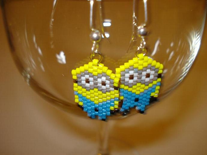 Earrings: Delica Seed Bead Two Eyed Yellow Guys