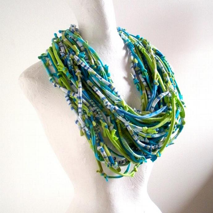 Lime Green and Turquoise Knotty Bits Infinity Scarf Eco friendly Chartreuse Blue