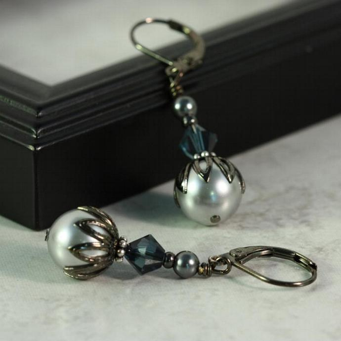 Gray Pearl and Deep Blue Crystal Earrings