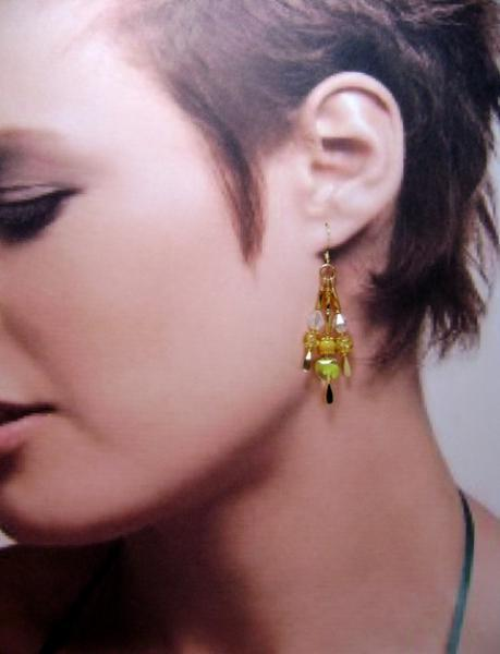 Earrings, Tri-Color Triple Drop Dangle Earrings, Yellow, Amber & Crystal on Gold