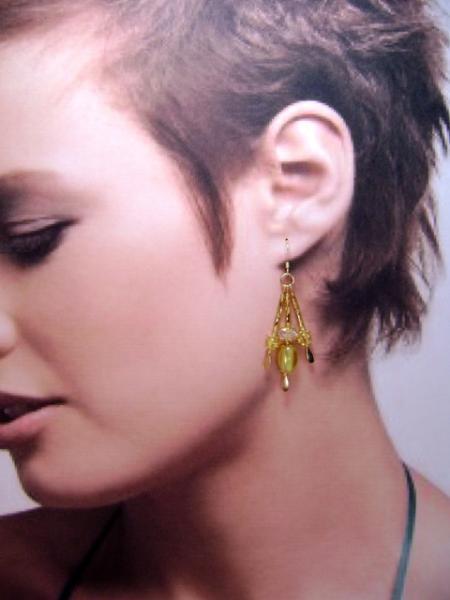 Earrings, Tri-Color Triple Drop Dangle Earrings, Yellow Oval, Crackle Glass &