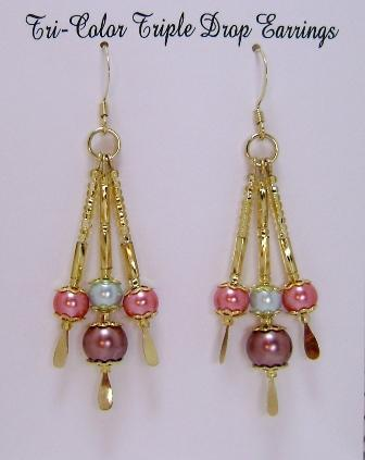 Earrings, Tri-Color Triple Drop Dangle Earrings, Coral, Aqua & Brown on Gold