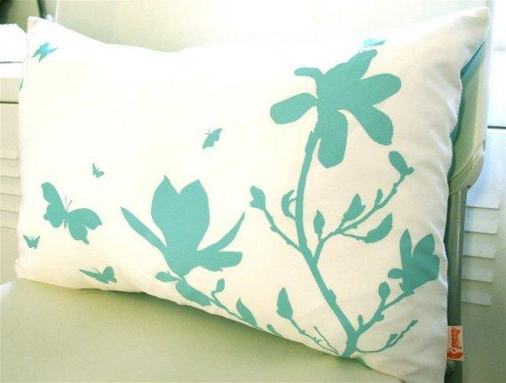 Limited Time Sale Blue Green Print on Off White Cotton Magnolia and Butterfies