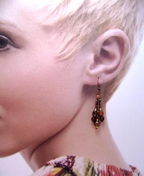 Earrings, Triple Drop Dangle Earrings, Brown Calico, Dark Amber & Brown on