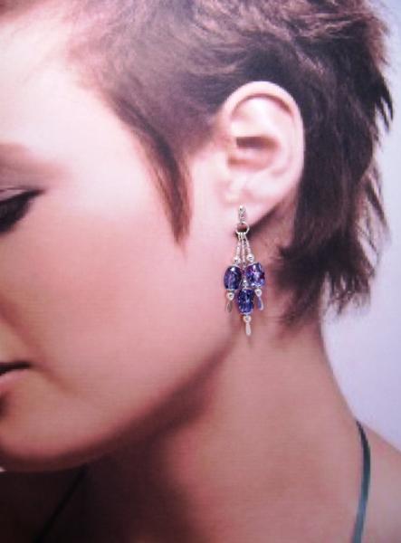 Earrings, Triple Drop Dangle Earrings, Blue Oval Glass Beads on Silver