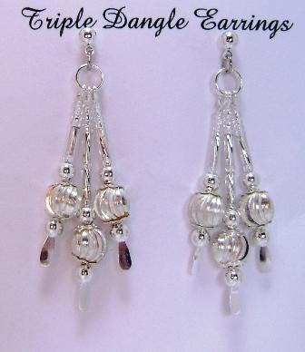 Earrings, Triple Drop Dangle Earrings, Corrugated Round Beads with Spiral