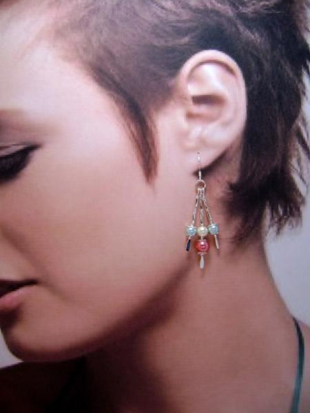 Earrings, Tri-Color Triple Drop Dangle Earrings, Aqua, Ivory & Coral on Silver