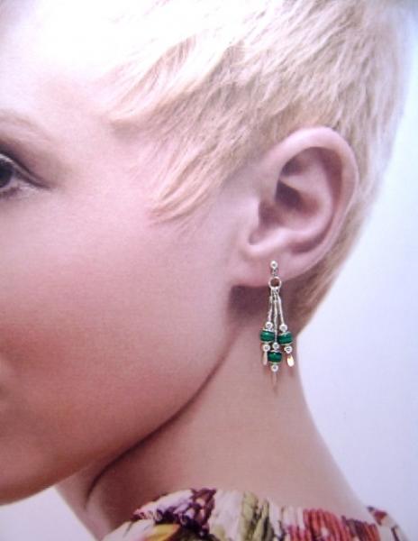 Earrings, Triple Drop Dangle Earrings, Malachite Gemstone Beads on Silver