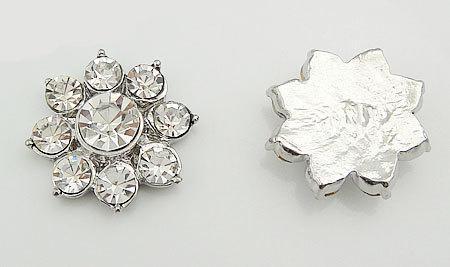 10 pcs RD127 Rhinestone Metal Flat Back Embellishment Buttons Wedding Bridal