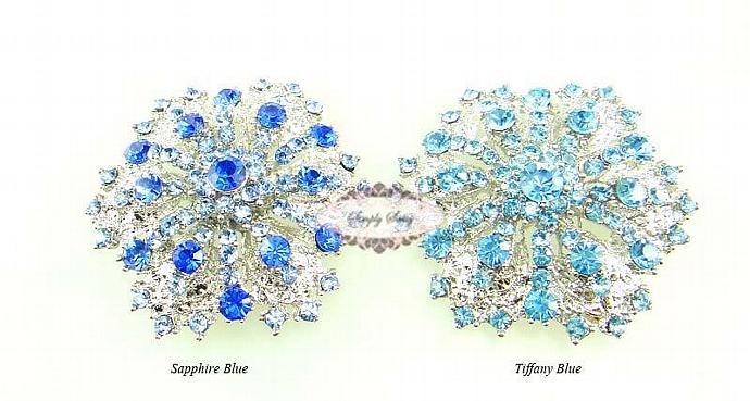 RD109 Gorgeous Tiffany Blue Rhinestone Metal Brooch Pin Wedding Bridal Brooch