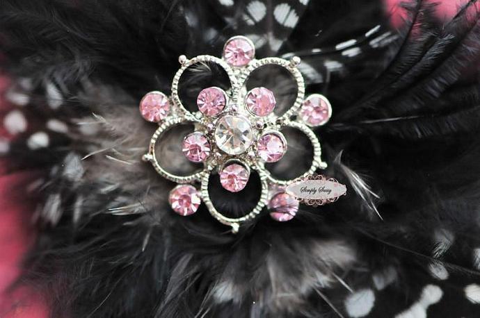 10 pcs RD139 Pink Rhinestone Metal Flat Back Embellishment Buttons flowers