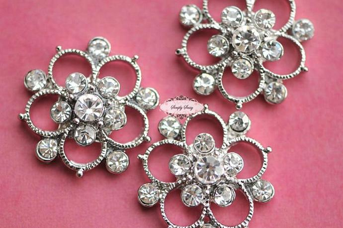 10 pcs RD139 Pink Rhinestone Metal Flat Back Embellishment Buttons flowers