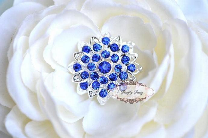 5pcs RD257 TIffany Blue or Sapphire Blue Rhinestone Metal Flatback Embellishment