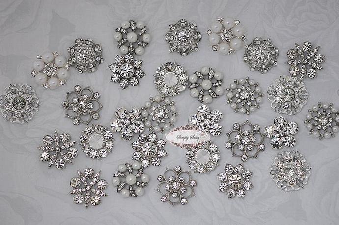 30 pcs CLEAR Crystal Rhinestone Assorted Embellishment Buttons Flatback