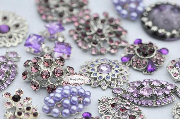 10pc Lavender Purple Assorted Rhinestone Flat back Embellishments DIY Brooches