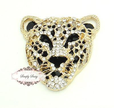 1pc RD217 Rhinestone Crystal Leopard Flatback Metal Brooch Embellishment Jewelry