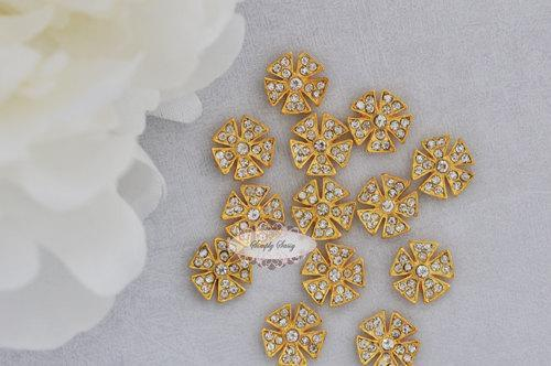 20pcs 13mm RD171 Clear Gold Rhinestone Embellishment Flatback Crystal Buttons