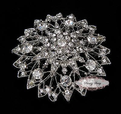 RD228 Brooch Pin Rhinestone Crystal Metal Flatback Embellishment Brooches