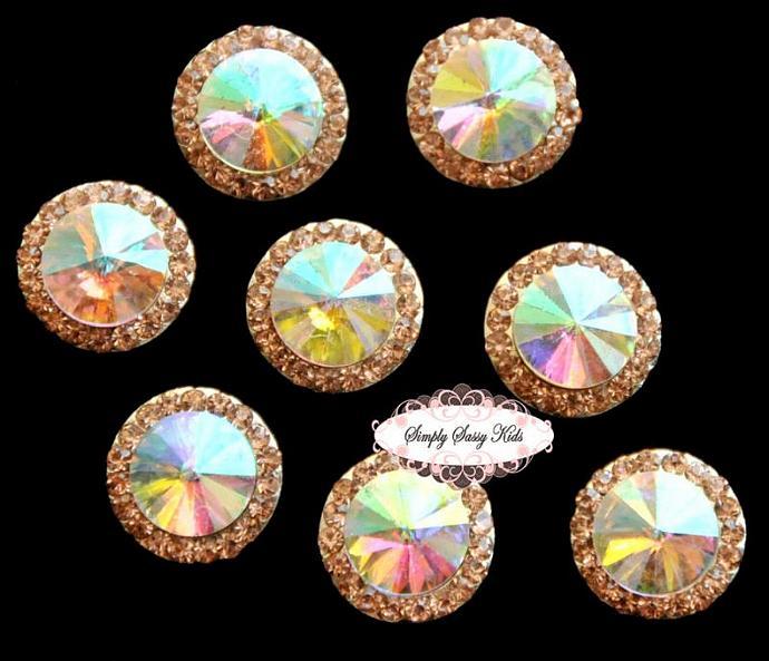 10pcs RD83 Champagne Rhinestone Crystal Embellishments Flatback Buttons DIY