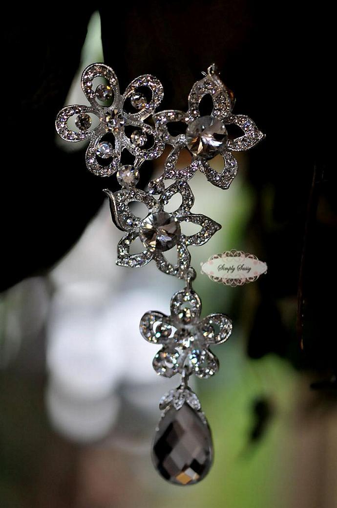 Large Rhinestone Brooch Pin - Rhinestone Crystal Brooch - Bridal Pin - Sash Pin