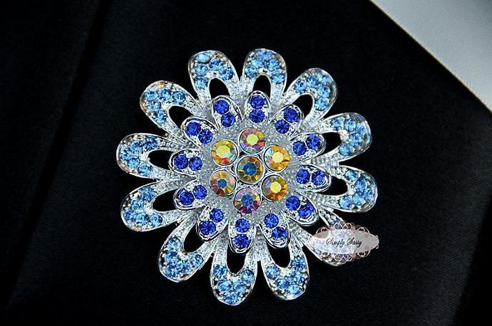 RD253 Beautiful BLUE Large Flower Rhinestone Flatback Crystal Metal