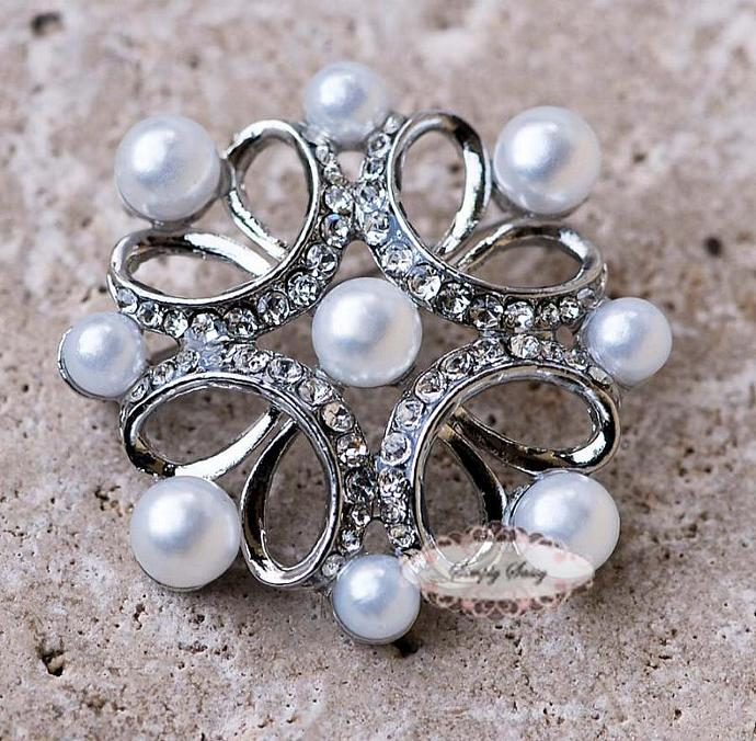3pcs RD260 Pearl Rhinestone Crystal Metal Embellishment Flatback Brooch wedding