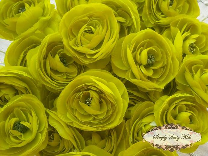 2 pcs Lime Green Silky Soft Ranunculus Artificial Flower Heads Color 3.5in DIY