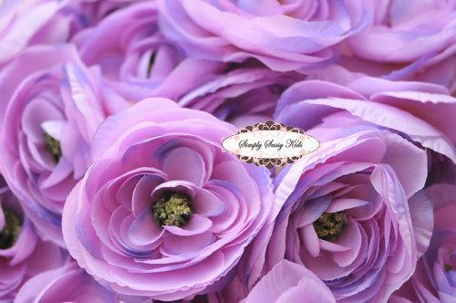 2 pcs Lavender Silky Soft Ranunculus Artificial Flower Heads Color 3.5in DIY